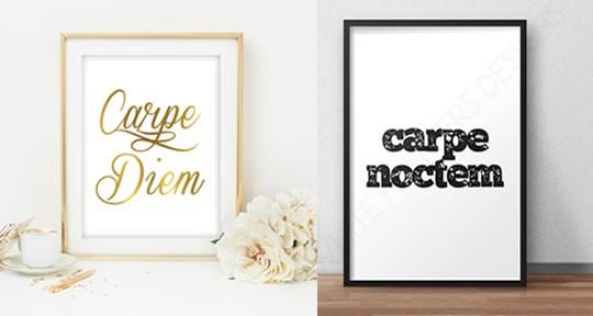 """Deux affiches : """"Carpe Diem"""" et """"Carpe Nostrem"""""""
