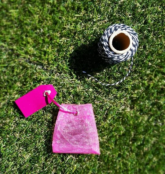 Un mini sachet d'organza de Little Extra et de la ficelle de Hema