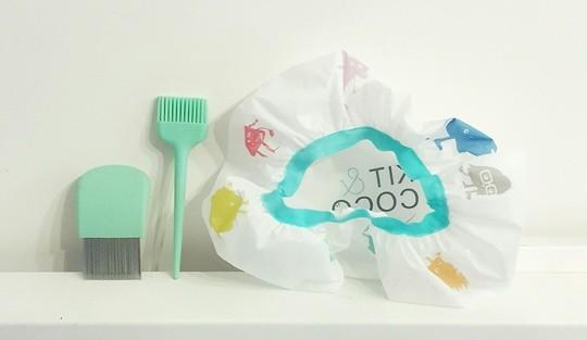 Les accessoires qu'on recoit dans le Kit&coco : peingne anti-poux, inceau applicateur et charlotte glamour