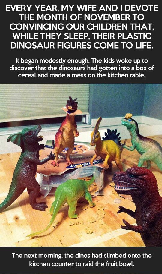 Des dinosaures prennent vie pour manger les biscuits des enfants