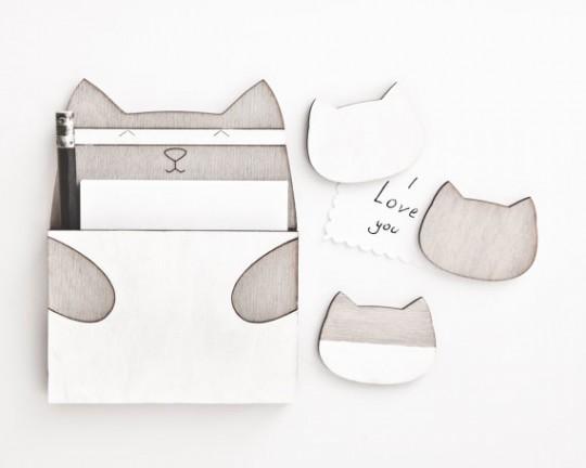 quatre aimants en forme de chats gris par JuliaWine