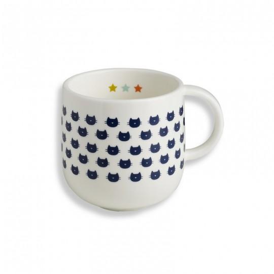 Un mug en porcelaine avec des tetes de chats, par Bandjo