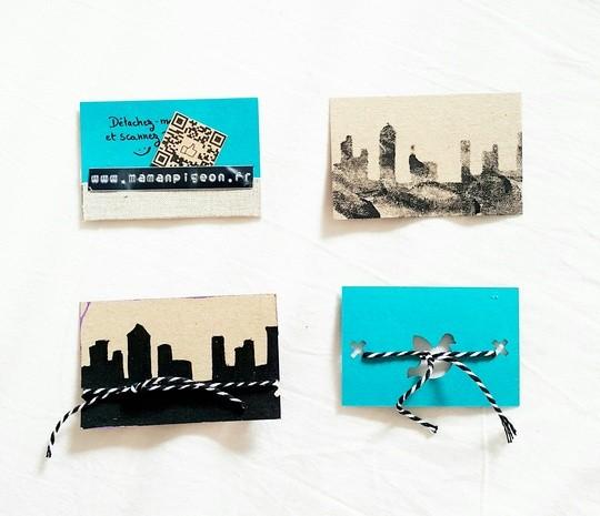 Prototypes ratés de cartes de visite pour Maman Pigeon