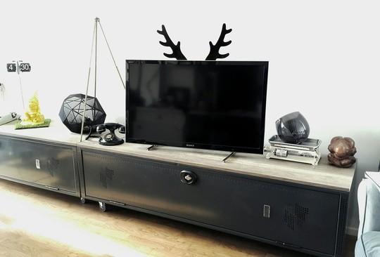 Une TV customisee avec les bois de cerfs de Rabito